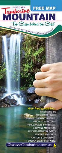 Map Tambourine, Waterfalls, Cedar Creek falls, Tamborine Mountains