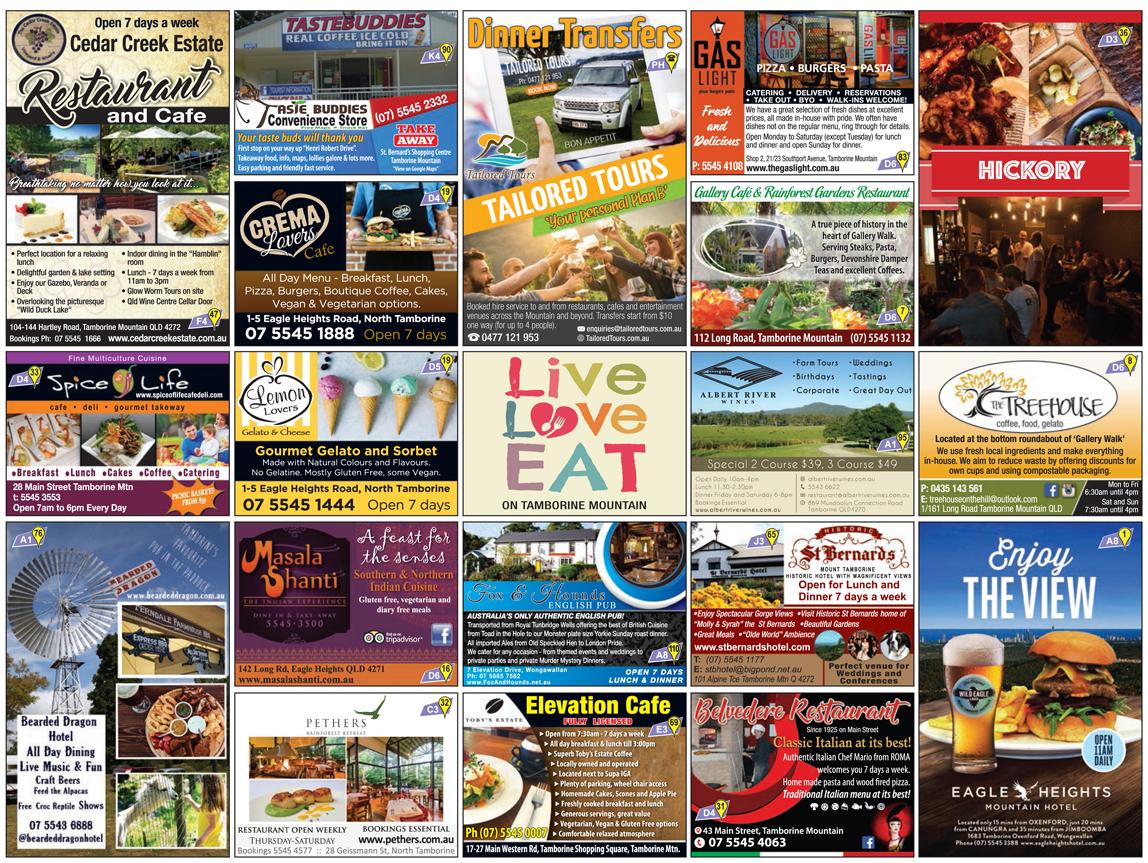 Eating Out, Good Food Guide Tamborine, Restaurants