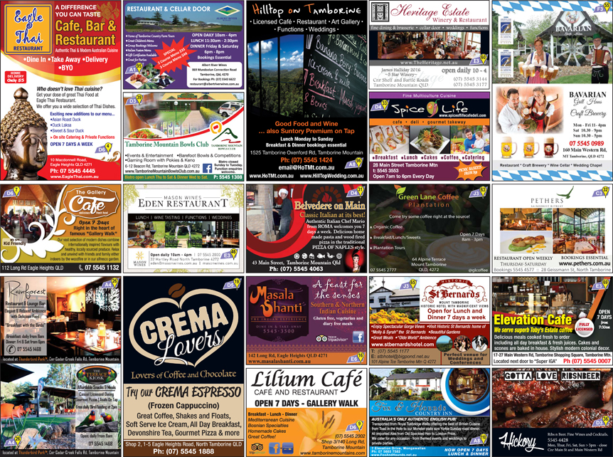 Restaurant Guide, Tamborine Mountain Pizza, Italian Cuisine, Indian Restaurant Tamborine
