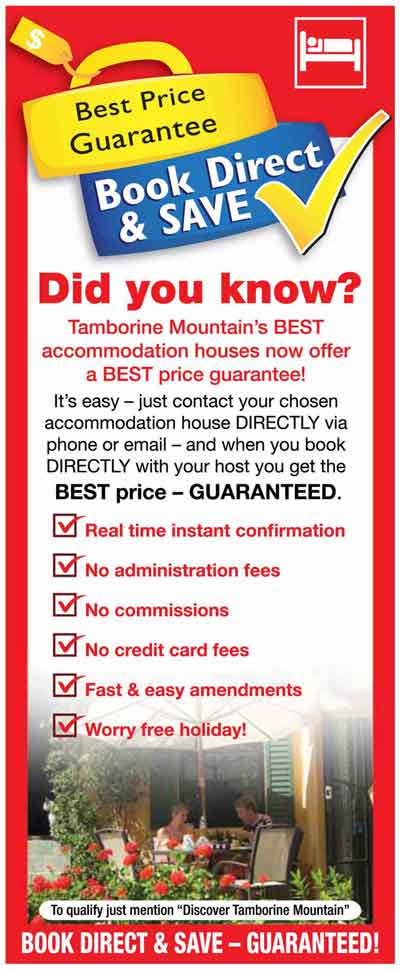 Tamborine Mtn Accommodation, Book Direct and Save