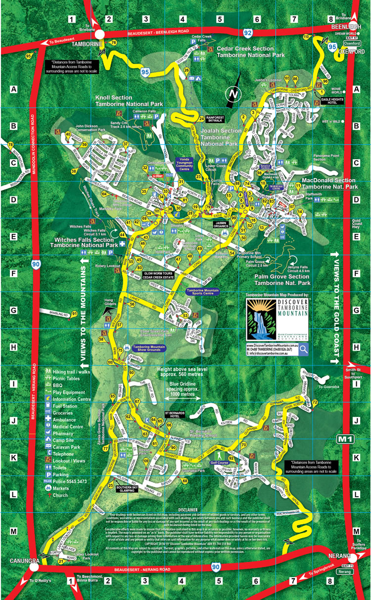 Tamborine Mountain Map